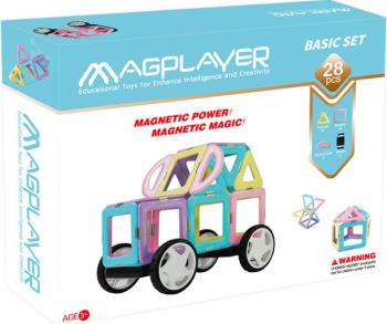 Joc de constructie magnetic MAGPLAYER - Basic Set 28 pcs + Cadou cutie slime 10gr Seturi de constructie