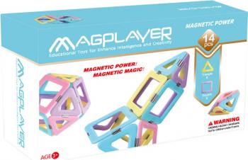 Joc de constructie magnetic MAGPLAYER - Magnetic Power 14 pcs + Cadou Cutie Slime 10gr Seturi de constructie