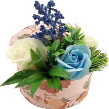 Nou Aranjament floral Sevirox Decor cu trandafiri din sapun fosforescenti Alb albastru Flori si Aranjamente florale