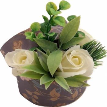 Nou Aranjament floral Sevirox Decor cu trandafiri din sapun fosforescenti Alb Flori si Aranjamente florale