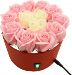 Nou Veioza si aranjament floral Sevirox Decor cu 15 trandafiri din sapun fosforescenti alb roz Flori si Aranjamente florale