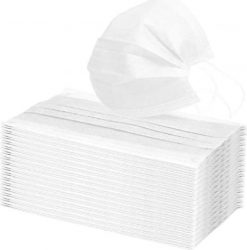 Set 50 Masti Protectie Textile Reutilizabile Polipropilena Netesuta 2 Straturi 8x19 cm Alb Prindere cu Elastic Masca Textila Accesorii sanitare