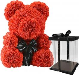 Ursulet cu trandafiri din spuma Rosu 30 cm SeviroxDecor Flori si Aranjamente florale