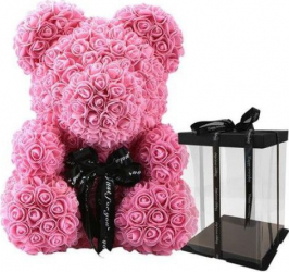 Ursulet cu trandafiri din spuma Roz 40 cm SeviroxDecor Flori si Aranjamente florale