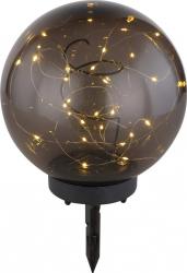 Glob solar 30 microLED-uri diametru 20 cm abajur fumuriu suport tarus Corpuri de iluminat
