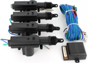 Set inchidere centralizata Carguard cu 4 motorase 12V negru Alarme auto si Senzori de parcare