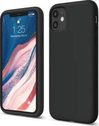 Husa iPhone 11 silicon si material textil Negru Huse Telefoane