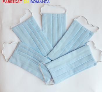 Set de 5 masti de protectie reutilizabile bleu Masti chirurgicale si reutilizabile