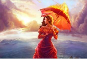 Tablou forex Fata cu umbrela in flacari color 100 x 70 cm Tablouri