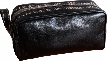 Trusa cosmetice portfard necessaire din pieel naturala negru DB123