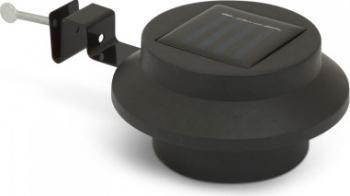 Lampa solara LED pentru jgheaburi/stresini/garduri cu 3 LED-uri culoare negru cu intrerupator ON/OFF 3 buc. LED-uri cu intensitate Corpuri de iluminat