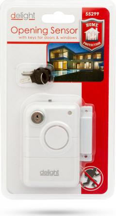 Alarma la deschiderea usii Delight - cu cheie functioneaza pe baterii 10dB plastic culoare alb