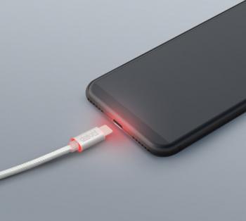 Cablu pentru incarcare si transfer de date USB Type-C Delight iluminare LED - rosu invelis special anti-incolacire lungime 1m curent maxim Lacate