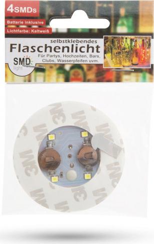 Decoratie autocolanta cu LED 4 RGB SMD pentru sticla cu baterii 2 x CR 1220 dimensiuni and Ø 60 x 3 mm 3 jocuri de lumini Lacate