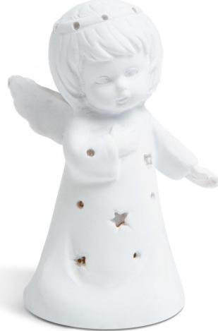 Decoratiune Craciun cu LED model ingeras alb - cald 8 cm baterii 3 x AG3