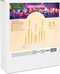 Decoratiune Craciun lumanari ornamentale pentru pomul de Craciun 15 LED alb cald baterii 3xAA Lacate