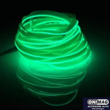 Fir cu lumina ambientala pentru masina neon ambiental flexibil 3M VERDE Lacate