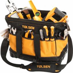 Geanta pentru unelte/scule Tolsen 16 cadru rigid pentru deschidere si acces facil baza ranforsata din plastic pentru durabilitate Lacate