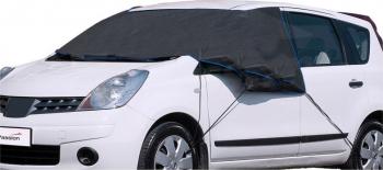 Husa protectie autoturism anti-inghet parbriz + geamuri laterale dimensiune 145-135x100 cm negru