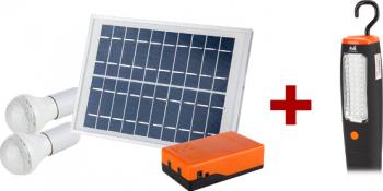 Kit iluminare led incarcare solara si 2 becuri 5w + laterna suport magnetic 43 leduri Lacate