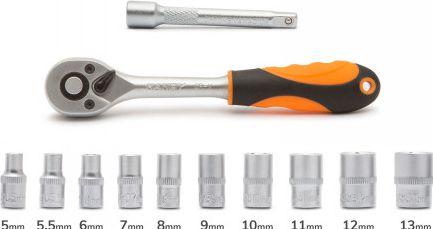 Set 12 buc chei tubulare Premium Handy cu clichet tubulare 1/4 5 mm - 13 mm material otel crom-vanadiu Lacate