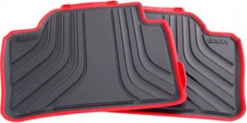 Set 4 covorase auto fata + spate Originale BMW Seria 3 F31 2011- Prezent negru/rosu Lacate