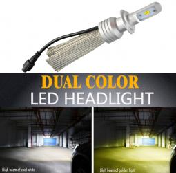 Set bec LED L11 culoare duala alb 6000K si galben 3000K H11 5500 lumeni - Motor Starter