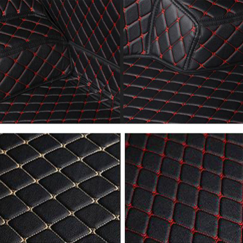 Set covorase auto LUX piele 5D design unic dedicat VW Sharan 2010- prezent cusatura rosie Lacate