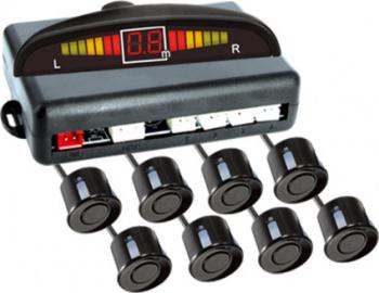 Set senzori de parcare fata-spate cu 8 senzori afisaj cu LED si semnal acustic 21.5 mm raza de actiune 0-2m Alarme auto si Senzori de parcare