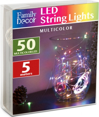 Sir de lumini 50 LED de Craciun lungime 5 m culoare multicolor baterie 3 x AA Lacate
