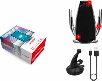 Suport telefon auto fara fir + incarcator fara fir cu senzor inteligent IR incarcare rapida de 10W compatibil pentru iPhone Xs Max / XR /