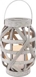Felinar solar LED ratan efect flacara reala design vintage maner 23 cm IP44 Corpuri de iluminat
