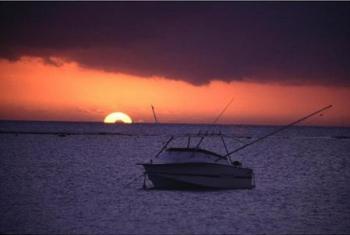 Tablou forex Apus si yacht la pescuit color 140cm x 70cm Tablouri