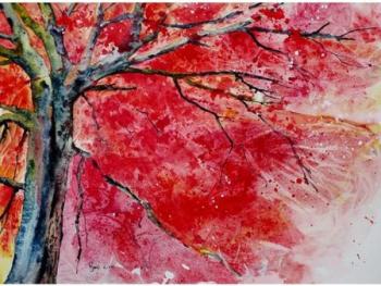 Tablou forex Copac rosu color 120cm x 80cm Tablouri
