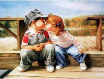 Tablou forex Doi copii iubareti multicolor 70cm x 50cm Tablouri