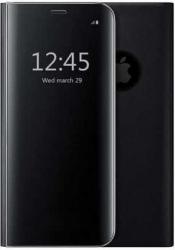 Husa iPhone 7 8 Clear View Flip Toc Carte Standing Cover Oglinda Negru Black