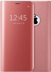 Husa iPhone X XS Clear View Flip Toc Carte Standing Cover Oglinda Roz Rose Gold Huse Telefoane