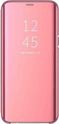 Husa Samsung Galaxy J4 Plus 2018 Clear View Flip Toc Carte Standing Cover Oglinda Roz Rose Gold Huse Telefoane