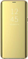 Husa Samsung Galaxy J6 2018 Clear View Flip Toc Carte Standing Cover Oglinda Auriu Gold