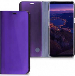 Husa Samsung Galaxy J7 2018 Clear View Flip Toc Carte Standing Cover Oglinda Mov Purple Huse Telefoane