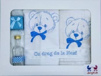 Trusou botez DanyKids cu urs brodat bleu Articole botez