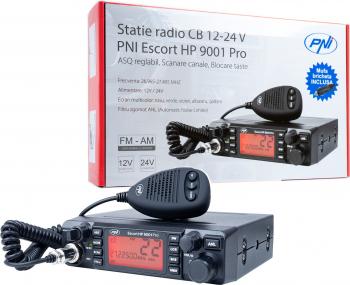 Statie radio CB PNI Escort HP 9001 PRO ASQ reglabil AM-FM 12V/24V 4W Scan Dual Watch ANL ecran multicolor Alarme auto si Senzori de parcare