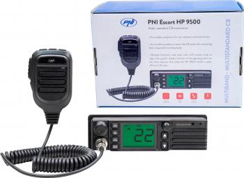 Statie radio CB PNI Escort HP 9500 multistandard ASQ VOX Scan 4W AM-FM alimentare 12V/24V mufa de bricheta inclusa Alarme auto si Senzori de parcare