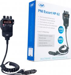 Statie radio CB portabila PNI Escort HP 62 multi standard 4W 12V AM-FM ASQ reglabil pe 5 niveluri RF Gain pe 9 niveluri Dual Watch Scan Alarme auto si Senzori de parcare