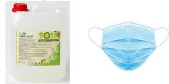 CLOR DEZINFECTANT 5 LITRI + Set 5 buc Masca Protectie Respiratorie de Unica Folosinta 3 straturi Albastru Articole curatenie si igiena