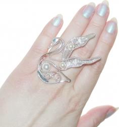 Inel Elven Rose Design Lebada handmade placat argint perle Seashell Inele