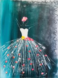 pret preturi Balerina Tablou pictat manual Corina Tamas dimensiune 40 x 30 cm