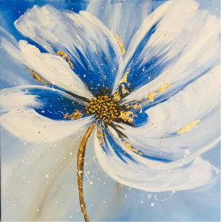 Floare albastru cobalt taboul pictat manual Corina Tamas dimensiune 40 x 40 cm Tablouri