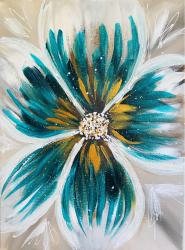 Floare turcoaz tablou pictat manual Corina Tamas dimensiune 30 x 40 cm Tablouri