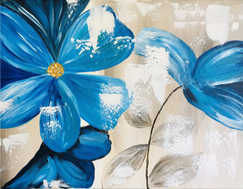 Flori albastre tablou pictat manual Corina Tamas dimensiuni 40 x 30 Tablouri
